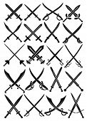 stock photo of crossed swords  - Crossed Swords Vector Collection in White Background - JPG
