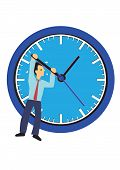 Businessman Hanging On A Clock. Concept Of Time Management Or Urgency. Flat Isolated Vector Illustra poster