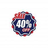 40% Sale Tag Vector Badge Template, 50% Sale Label Collection, Clearance Sale Sticker Emblem, Bargai poster