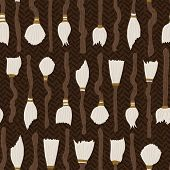 Magic Broom Cupboard Vector Pattern. Collection Of Magic Brooms Stacked Up In A Cupboard In Earthy C poster