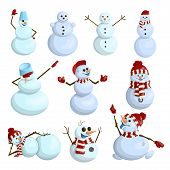 Funny And Funny Vector Snowmen In Cartoon Style. poster