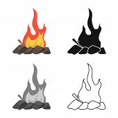 Vector Illustration Of Campfire And Yellow Icon. Set Of Campfire And Night Vector Icon For Stock. poster