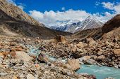 Chandra River in Himalayas. Lahaul Valley, Himachal Pradesh, India India poster