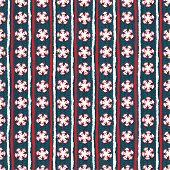 Seamless Pattern. Hand Drawn Abstract Winter Snowflakes. Stylish Crystal Stars Stripes Background. V poster