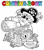 Coloring book with pirate theme 8 - vector illustration.