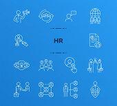 Hr Line Icon Set. Cv, Handshake, Salary. Human Resource Concept. Can Be Used For Topics Like Career, poster