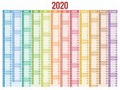 2020 Year Calendar. Holiday Event Planner. Week Starts Sunday. Corporate Design Planner Template. poster