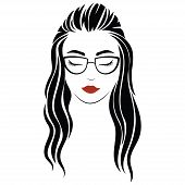 Portrait Of A Girl With Glasses. Head Of A Beautiful Girl. Face Of A Young Woman With A Female Haird poster