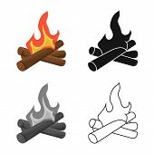 Vector Illustration Of Campfire And Firewood Symbol. Collection Of Campfire And Heat Stock Symbol Fo poster