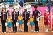 KHARKOV, UKRAINE - APRIL 21: US team on opening ceremony during Fed Cup tie between USA and Ukraine