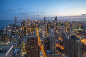 Beautiful Scenic View Of Business District Of Chicago Loop With Skyline In Evening Sunlight. Panoram poster