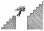 Freehand Pen Drawing Of A Man Attached To A Rocket Overcoming A Gap In A Staircase. Business Metapho poster