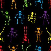 Halloween Dancing Skeletons Seamless Pattern. Funny Colored Skeletons On The Black Background. Happy poster