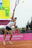 KHARKOV, UKRAINE - APRIL 22: Christina McHail serves a ball during Fed Cup tie between USA and Ukrai