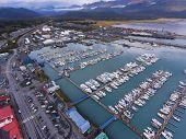 Aerial View Of Seward Boat Harbor And Waterfront In Fall, Seward, Kenai Peninsula, Alaska, Usa. Sewa poster