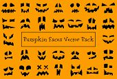 Pumpkin Faces. Halloween Jack O Lantern Face Silhouettes. Monster Ghost Carving Scary Smileys Vector poster