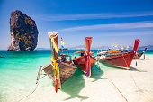 long tail boats on Ko Poda island poster