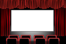image of movie theater  - Panoramic Movie Theater With Drapes and Seats - JPG