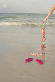 pic of skinny-dip  - Skinny dipping concept shot showing a woman - JPG