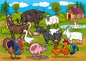 image of turkey-hen  - Cartoon Illustration of Country Scene with Farm Animals Livestock Big Group - JPG