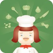 pic of dutch oven  - Chef woman in whites - JPG