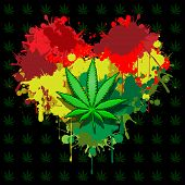 image of rastafari  - Illustration of marijuana leaf and hearts on a black background - JPG