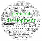 stock photo of self assessment  - Personal development concept in word tag cloud on white - JPG