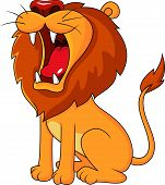 pic of growl  - Vector illustration of lion cartoon roaring isolated on white - JPG