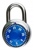 pic of dial pad  - A closed and locked combination lock with a blue dial and index pointer - JPG