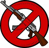 stock photo of assault-rifle  - Doodle style Assault Weapons Ban - JPG
