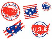 stock photo of usa map  - Set of five grunge rubber stamps of USA map - JPG