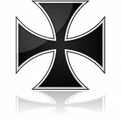 stock photo of maltese-cross  - Glossy illustration showing an iron cross symbol reflected over a white surface - JPG