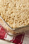 stock photo of crispy rice  - Homemade Marshmallow Crispy Rice Treat in bar form - JPG