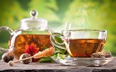 stock photo of teapot  - Cup of tea and teapot with blooming tea on blur green background - JPG