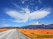 stock photo of pampa  - On a dirt road on the pampa car rides - JPG