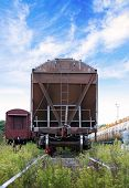 stock photo of freightliner  - Cargo railway car stands on station - JPG