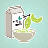 foto of soybean milk  - Soy bean vintage background - JPG