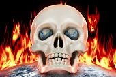 stock photo of autopsy  - The human skull on a background of planet earth in fire - JPG