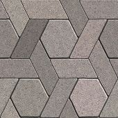 stock photo of quadrangles  - Gray Pavement Consisting of Combined Quadrangle and Hexagons - JPG