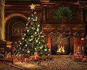image of teddy  - 3d CG graphics of a living room on Christmas Eve - JPG