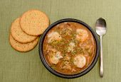 picture of creole  - shrimp gumbo with crackers for a creole meal - JPG