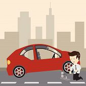 Businessman use a jack to change a tire. Vector