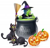stock photo of witches cauldron  - An illustration of a cartoon witch with cats pumpkins and bubbling cauldron filled with green witch - JPG