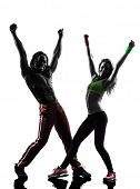 foto of zumba  - couple man and woman exercising fitness zumba dancing  in silhouette  on white background - JPG