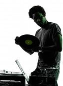 stock photo of disc jockey  - one disc jockey man in silhouette  on white background - JPG