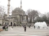 stock photo of mosk  - The grand mosque of Ayoub el Ansari in Eyup Istanbul on a cloudy day - JPG