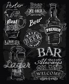 stock photo of drawing beer  - vector chalk beer on chalkboard background - JPG