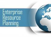 picture of enterprise  - Enterprise Resource Planning concept with globe on white background - JPG
