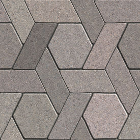 stock photo of quadrangles  - Gray Pavement Consisting of Combined Quadrangle and Hexagons - JPG