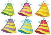Illustration of the six colorful dresses on a white background